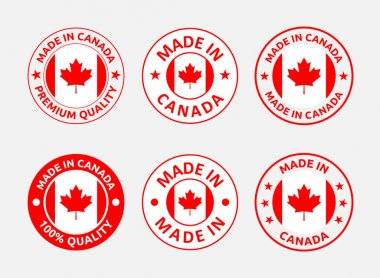 Made in Canada icon set, Canadian product labels icon