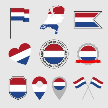 Holland flag symbols set, Netherlands national flag icons icon