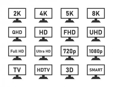 display specifications icons set, monitor display features
