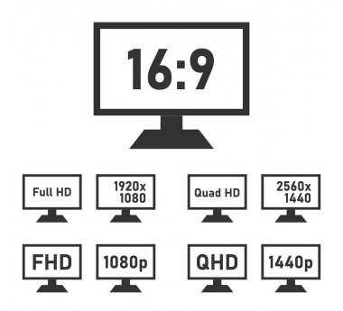 FHD and QHD specifications icon set, full hd and quad hd display features