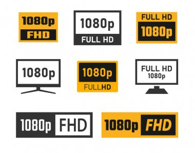 1080p Full Hd icons set, FHD screen resolution