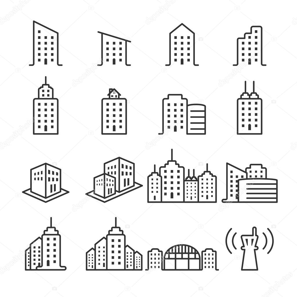 Line Drawing Icons : Thin line building icon set vector eps — stock