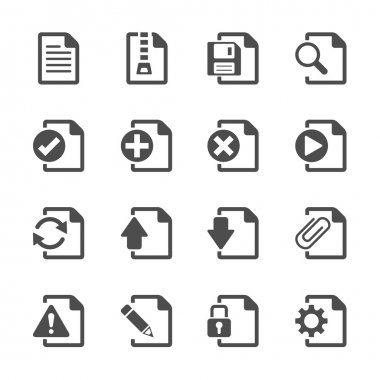 file document icon set, vector eps10