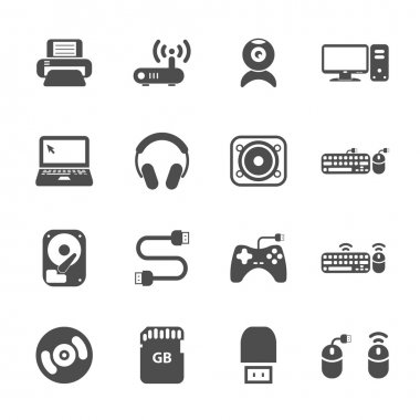 computer hardware and accessories icon set, vector eps10