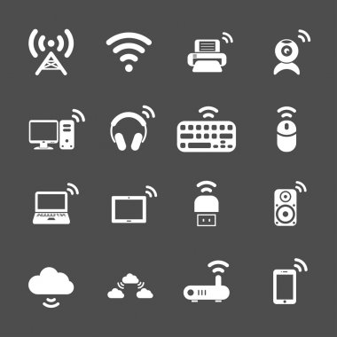 wireless technology computer icon set, vector eps10