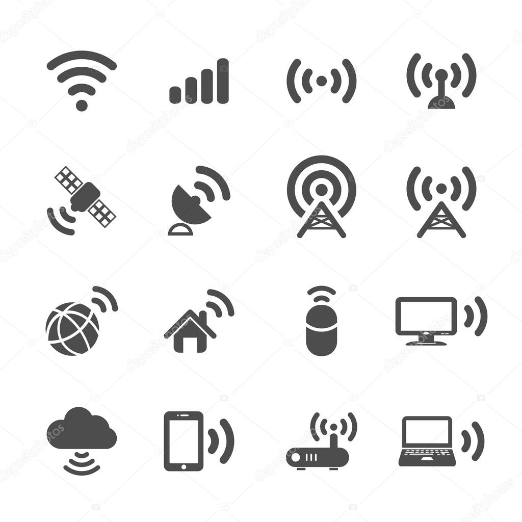 Wireless technology icon set, vector eps10