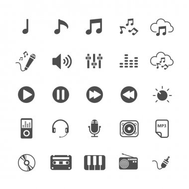 music icon set, vector eps10