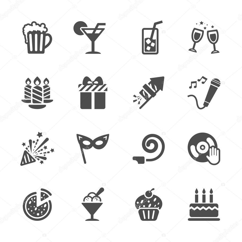 new year party icon set 7, vector eps10