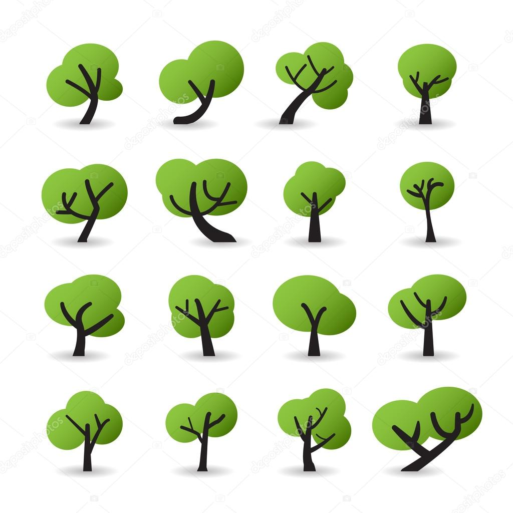 tree icon set with shadow, vector eps10