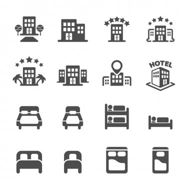 hotel building and bedroom icon set, vector eps10
