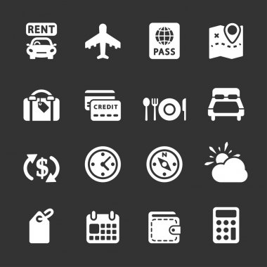 travel and vacation icon set 6, white version, vector eps10