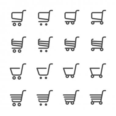 shopping cart icon set, line version, vector eps10
