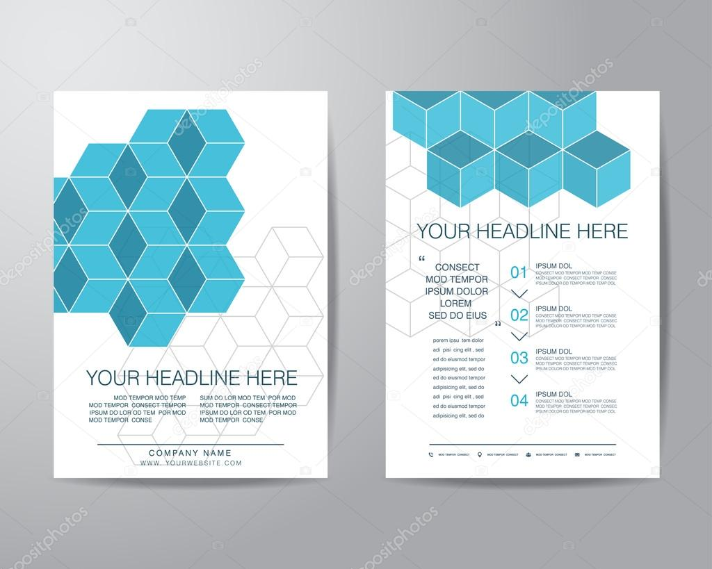 Simple box brochure flyer design layout template in A4 size, vec ...