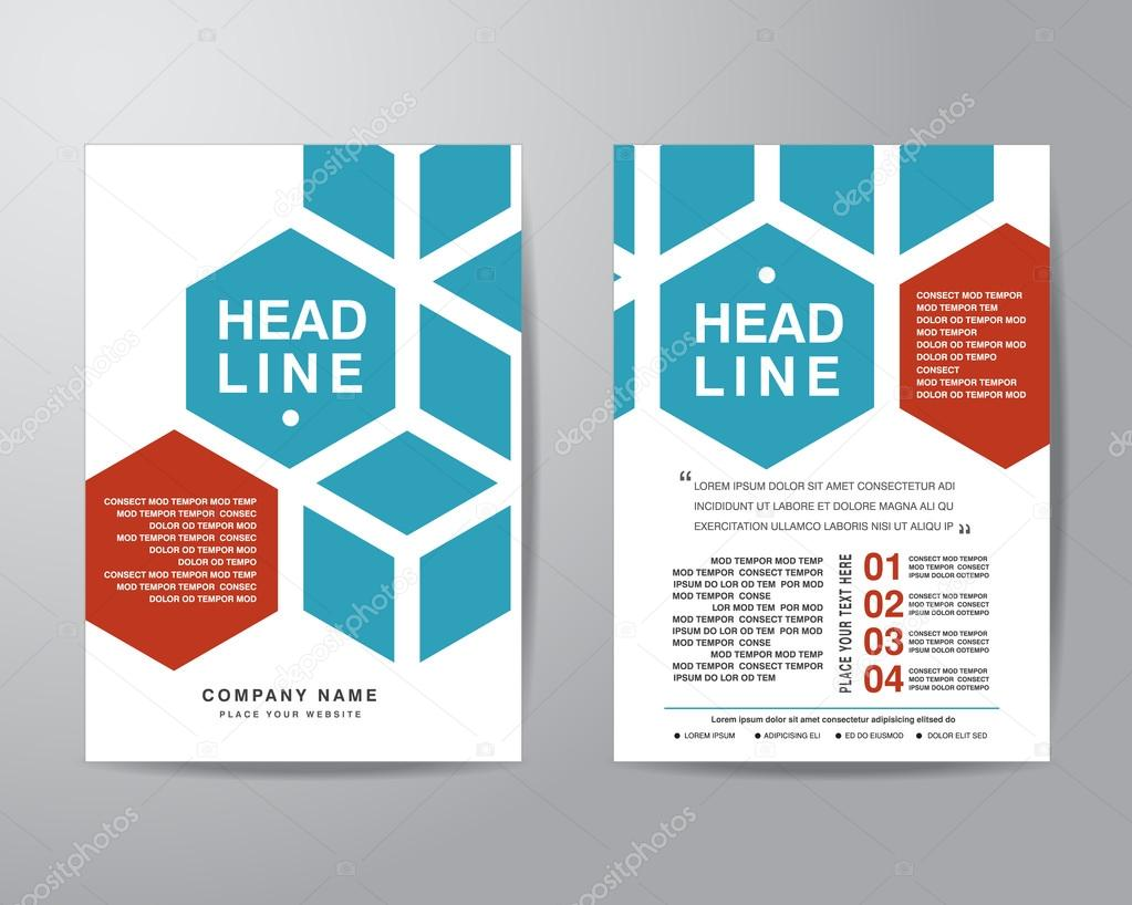 hexagonal brochure flyer design layout template in a4 size with