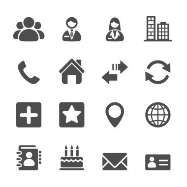 contact icon set, vector eps10
