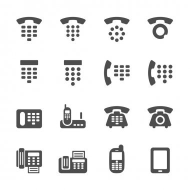 phone and fax icon set, vector eps10