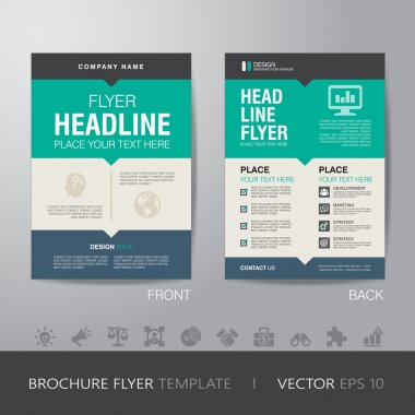 Corporate brochure flyer design layout template in A4 size, with bleed, vector eps10. stock vector