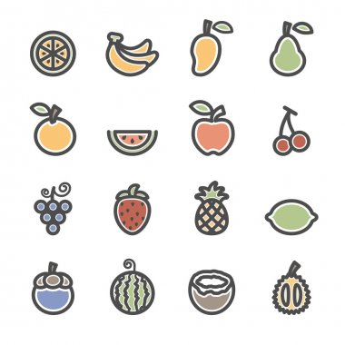 fruit icon set, flat line version, vector eps10