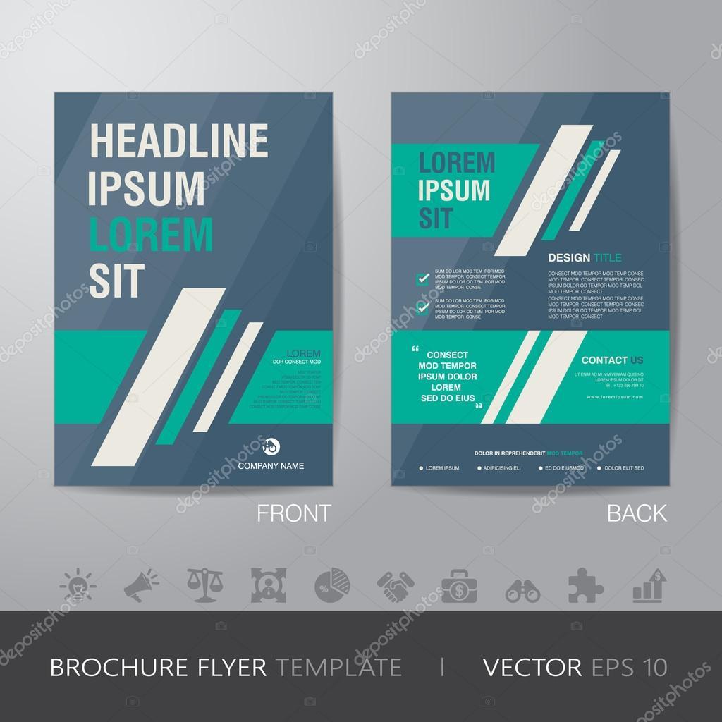 単純なビジネス グリーンとブルー パンフレット チラシ デザイン