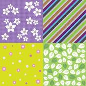 Vier-nahtlose Frühlings-Hintergrund-Muster