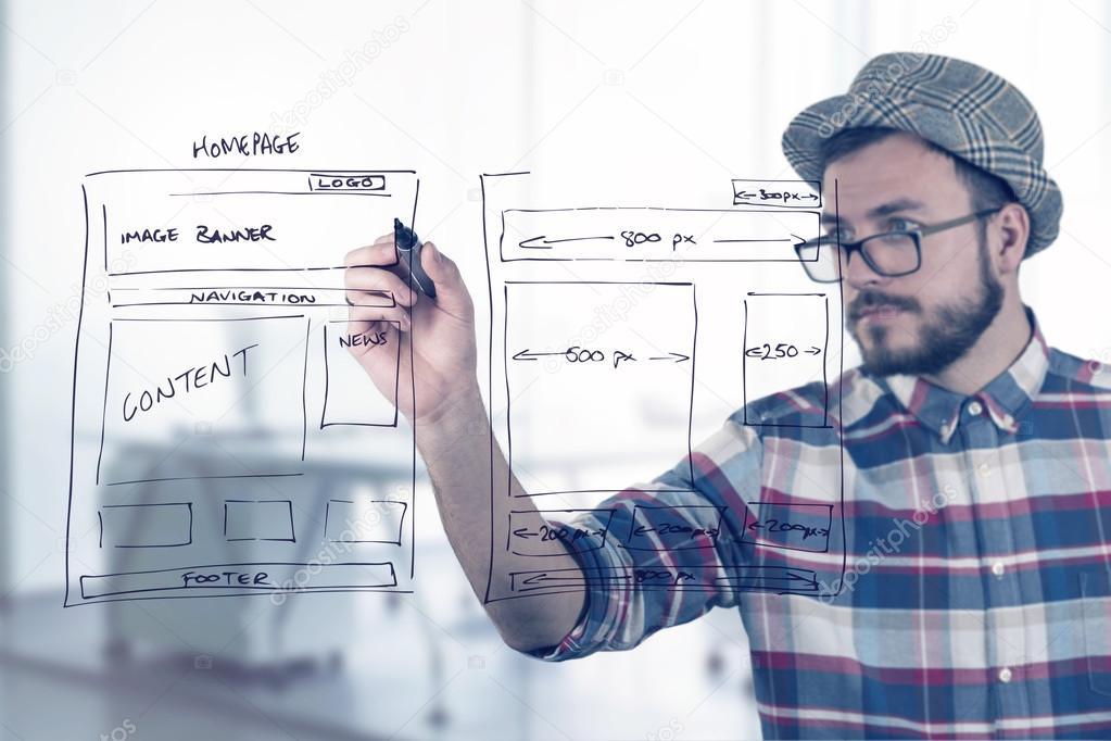 Web Designer Zeichnung Webseite Entwicklung Drahtmodell — Stockfoto ...