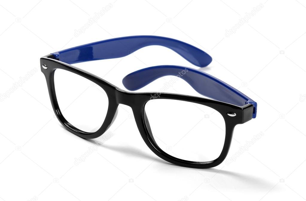 schwarzen Rahmen Hipster Brillen isoliert auf weiss — Stockfoto ...
