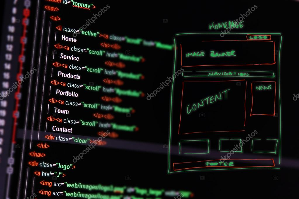 website development - programming code and wireframe on computer
