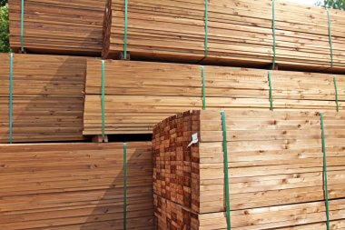 stack of wooden terrace planks at the lumber yard
