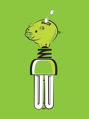 energy saving bulb with piggy bank