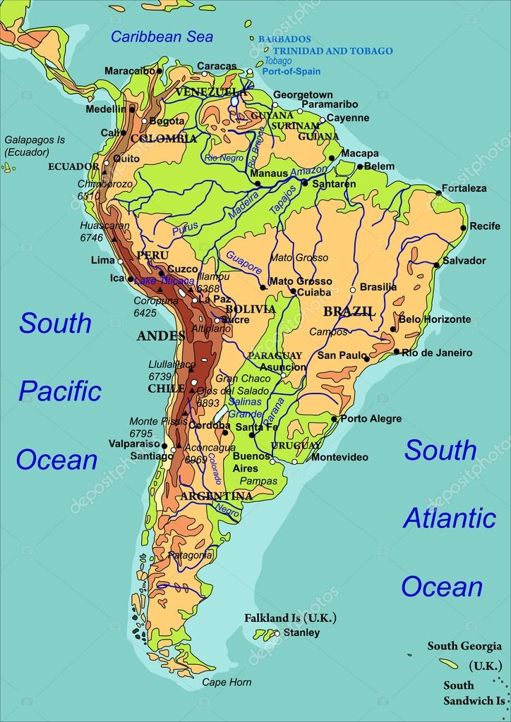 karta över sydamerika Karta över Sydamerika. Vektor illustration — Stock Vektor  karta över sydamerika