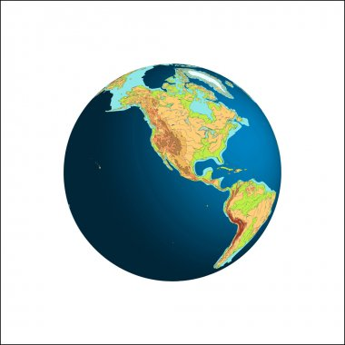 World Globe. Planet Earth. North and South America, vector illustration.