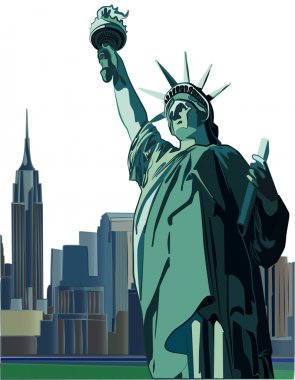 Statue of Liberty and New York City skyline, vector illustration