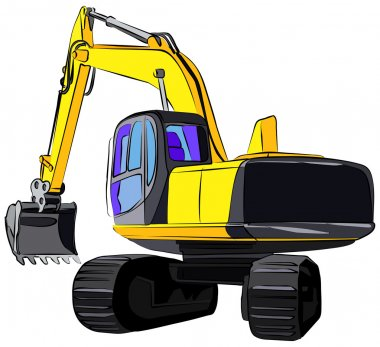 Tracked excavator, vector illustration