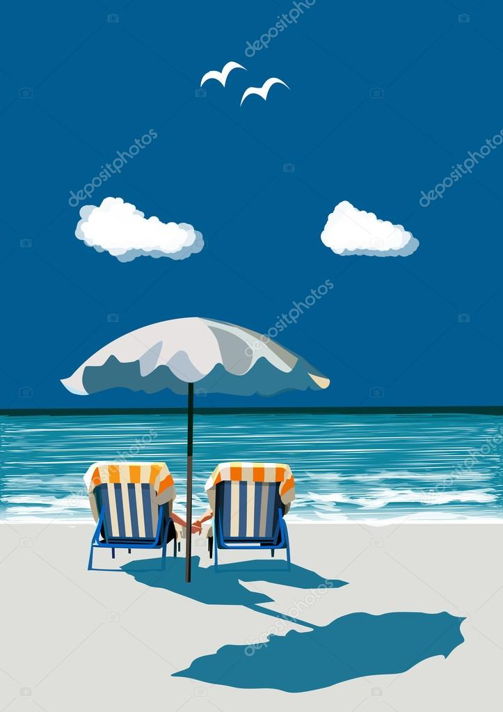 Beach, happy couple sitting on deck chairs, under umbrealla, on vacation, vector illustration