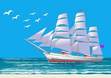 White sailing ship, with blue sky and gulls, vector illustration