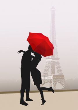 Couple of lovers in Paris