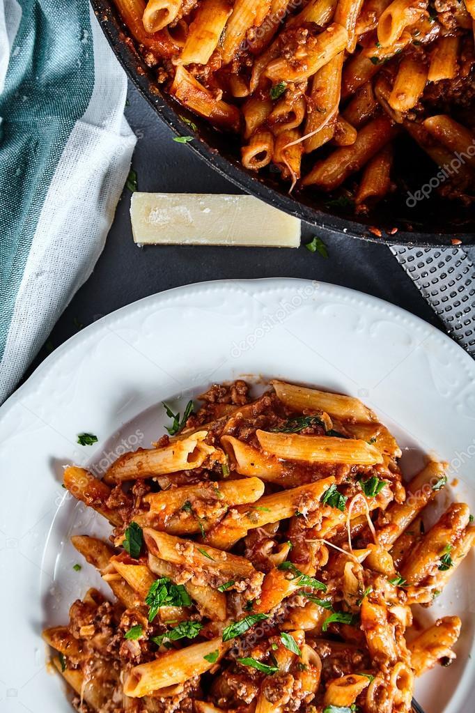 Nudelgericht American Chop Suey mit Rindfleisch — Stockfoto ...