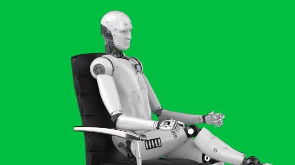 3D renderelés humanoid robot ül irodai szék 4k felvételek