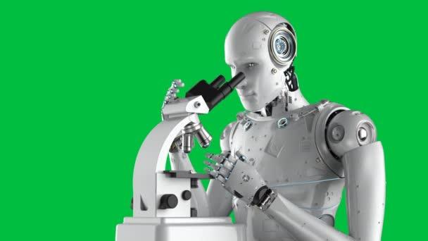 3D-s renderelő robot dolgozik mikroszkóp elszigetelt zöld képernyőn 4k felvételek