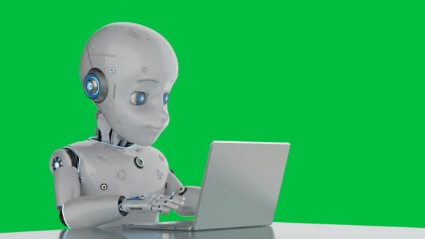 3D vykreslování roztomilý robot nebo umělá inteligence robot pracuje s notebookem na zelené obrazovce 4k záběry