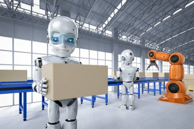 Automation factory concept with 3d rendering robot with boxes on conveyor line in factory