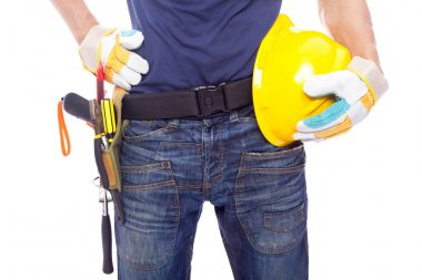 Close up of a worker with toolbelt and helmet, isolated on white background stock vector