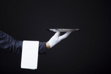 Waiter hand holding a tray