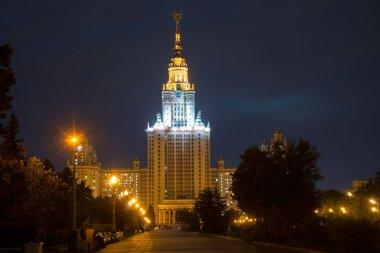 Lomonosov Moscow State University (at night), main building, Rus