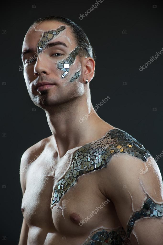 Young Handsome Man With Mosaic Body Art Painting Stock Photo C Sloniki 66390241
