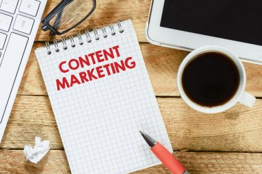 Notebook with content marketing