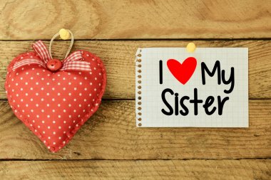 I love my sister Card with heart