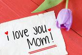Fotografia Scheda con io ti amo mamma