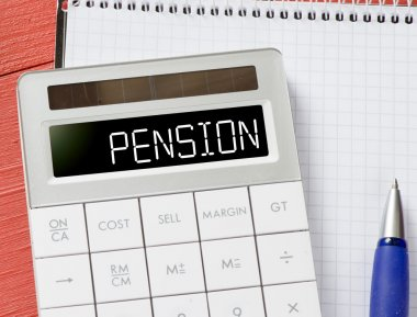 Calculator with pension word
