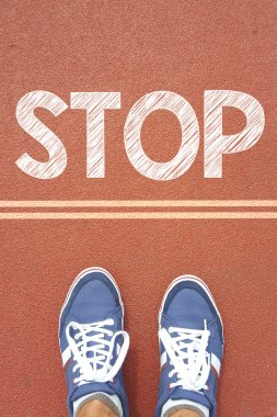 Male sneakers  and word stop